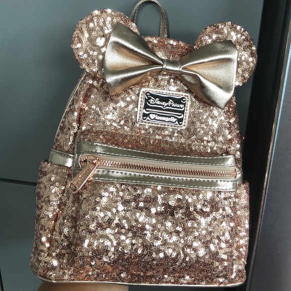 241c856e89e Rose Gold Minnie Mouse Backpack - Loungefly